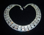 DRAMATIC Vintage WIDE Rhinestone Baguette Choker Necklace