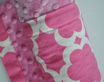 XLARGE Snuggle Size Baby Girl Minky Blanket, Large Pink Flowers and Pink Minky