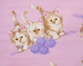 Kittens Pink Flannel Pillowcase