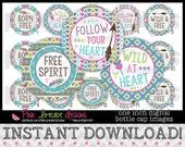 "Free Spirit - INSTANT DOWNLOAD 1"" Bottle Cap Images 4x6 - 748"