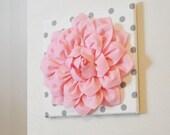 "Wall Flower -Light Pink Dahlia on White with Gray Polka Dot 12 x12"" Canvas Wall Art- Baby Nursery Wall Decor-"