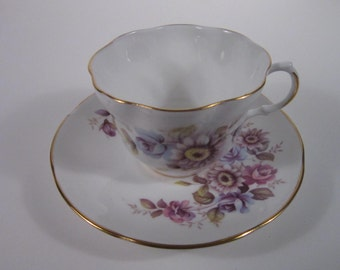 Bone China Teacup and Saucer w/Lavender Floral Design