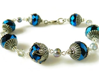 Sapphire Bracelet Victorian Bracelet Royal Blue Crystal Bracelet Cobalt Blue Link Bracelet Dark Blue Antique Silver Bridal Jewelry Wedding