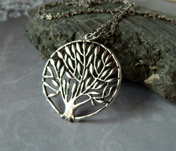 Weeping Willow Necklace Family Tree Silver Tree By Msbsdesigns