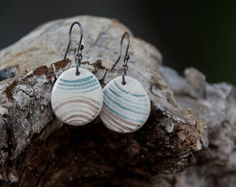 SALE Handpainted ceramic earrings on sterling silver