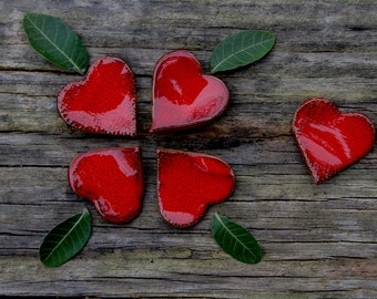 One red ceramic heart - wedding favor, love declaration gift, Valentine's gift