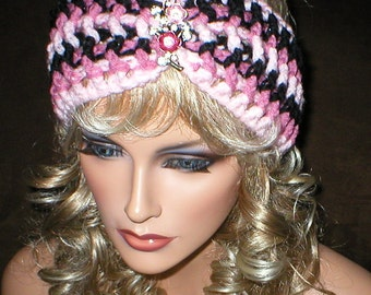 Crochet Womens Fall Winter Vintage Style Reproduction Rhinestones Floral Brooch Head Wrap Turban