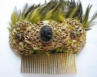 Gold bridal headpiece | hair comb | brass | fascinator | statement