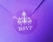 60 Clear/Gold/Silver Chandelier RSVP Wedding Stickers-Invitation, Favor Stickers, Gift Wrap, Envelope Seal