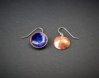 Enamel Copper Cup Dangle Earrings