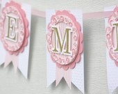 pink and gold nursery decor, nursery banner, baby name banner, pink and gold party decorations, shabby chic banner, baby banner, custom