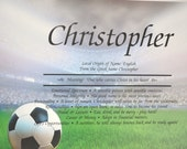Personalized Your Child's NAME MEANING  Soccer  CHILDS  Gift  8.5 X 11 ships in 24 hrs