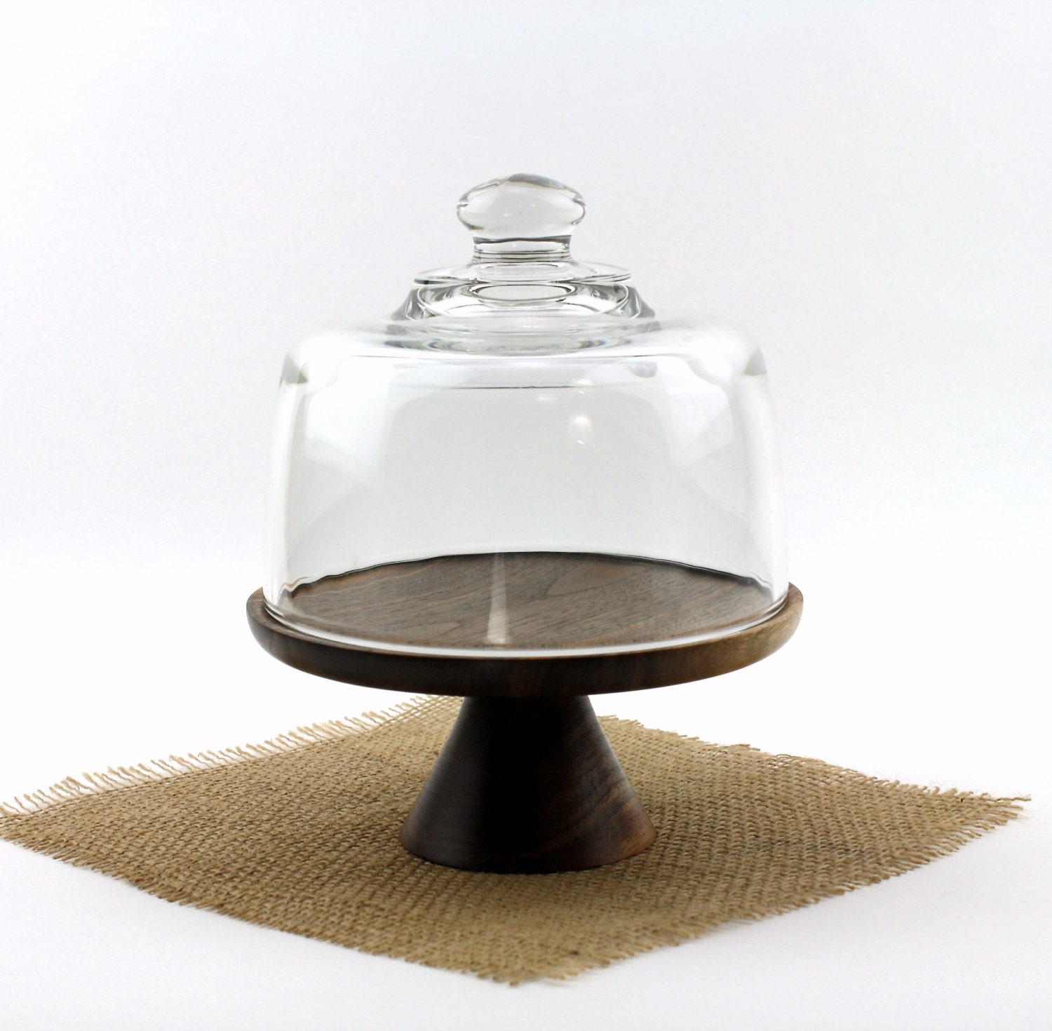 walnut cake stand with glass dome wooden cake plate pedestal. Black Bedroom Furniture Sets. Home Design Ideas