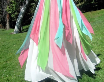 Ameynra Belly Dance Maxi SKIRT, White Chiffon & Multi Color Petals, Size XXL, New