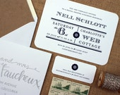 Nautically Inspired Invitation Suite - 110# Heavy White Stock, Navy Ink - Custom Colors Available - Set of 25