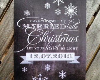 NEW - Chalkboard Christmas / Winter Wedding Sign - 8x10 Frameable Art with Snowflakes - Customize with your Wedding Date