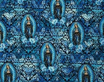 Lady of Guadalupe Metallic Blue- ( Kanvas Fabric) 1 yard