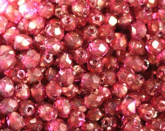 50 pieces of Halo – Madder Rose 3 mm fire polished czech crystal beads (CZ03-126)