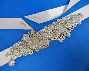 Rhinestone  Bridal Sash, Wedding Gown Sash, Beaded Crystal Sash,