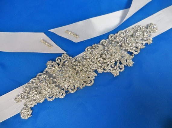 Rhinestone  Bridal Sash, Wedding Gown Sash, Beaded Crystal Sash,