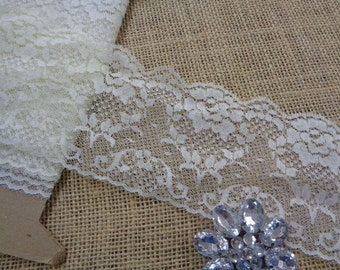 "Wedding lace 10 yards 3"" width ( 76 mm ) ivory cream roses pattern scalloped edge lace trim bridal lace and your custom made table runner"