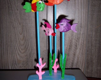 Handmade custom wooden tropical fish decoration