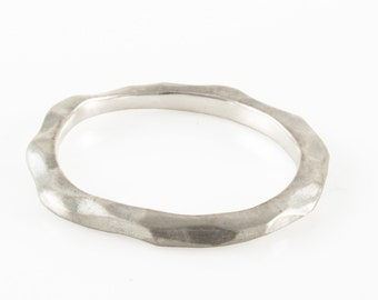 Sterling Silver Carved Ring Stackable Ring Satin Matte Nature Ring Mountain Ring Stack Ring Textured Ring - Low Shonan