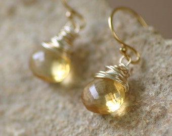 Gold citrine earrings, November birthstone jewelry, citrine jewelry, gemstone earrings, gold earrings - Celestine