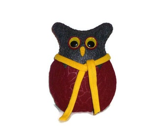 Woodland plush, owl home decor, forest friend, handmade, yellow and black, owl lover gift, stuffed animals, plushies, adult toys, teen gifts