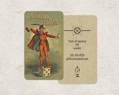Magic and Devil Business Cards, Calling Cards, Personalized Stationery, Calling Card, Magic, Poker, Dice, Devil Cards, Custom Stationery