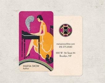 Art Deco Business Cards, Calling Cards, Business Card, Monogram Stationery, Custom Design, Logo, Perfect for Writer, Author or Editor