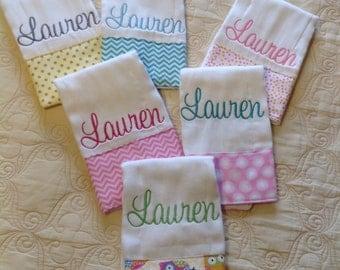 Set of 6 personalized burp cloths, LAUREN