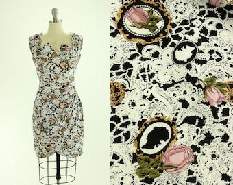 90's Cameo & Lace Print Dress S M La Belle Roses Floral Grunge