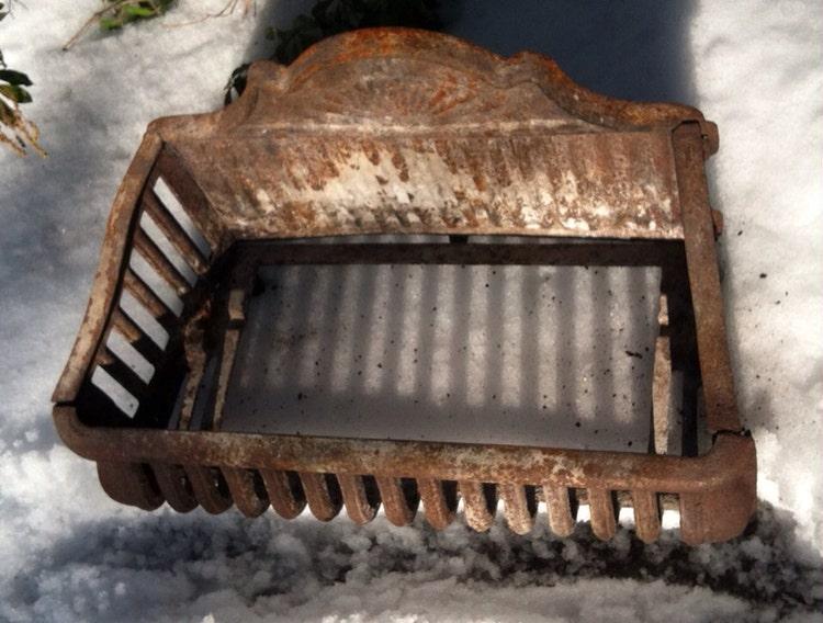 Antique Cast Iron Fireplace Basket Grate Coal Box By Montagedecor