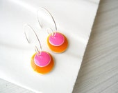 Orange Drop Earrings - Enamel Jewelry, Silver Hoops, Pink, Modern, Geometric, Simple, Bold, Happy, Bright, Cheerful