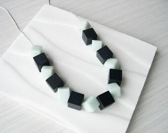 Mint Green Necklace - Wood Anniversary Gift, Amazonite Jewelry, Modern, Black, Natural Stone, Cube, Semiprecious, Semi-Precious, Unusual
