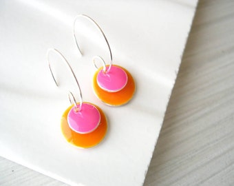 Orange Drop Earrings - Enamel Jewelry, Silver Hoops, Pink, Modern, Geometric, Simple, Bold, Happy, Bright, Cheerful