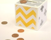 Yellow, Gray and white Wood Bank - Piggy Bank - Kids bank, Kids Money Bank, Coin Bank, beach, cottage, kids room, Wood Piggy Bank, Coin Box