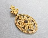 Gold Pendant Marcasite Accents Topaz Stone Sterling Vermeil