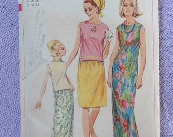 1966 MOD Maxi Dress or Top & Skirt Set, Sheath Dress, Sleeveless Top Overblouse- Vintage 60s Simplicity Sewing Pattern 6527 Miss Bust 31 32