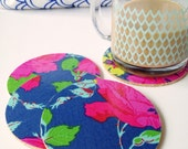 Navy Blue Floral Oilcloth Fabric Coasters - Set of 4 Drink Coasters Garden Party Home Decor Tablescape Dinner Party Gift Patio Dining