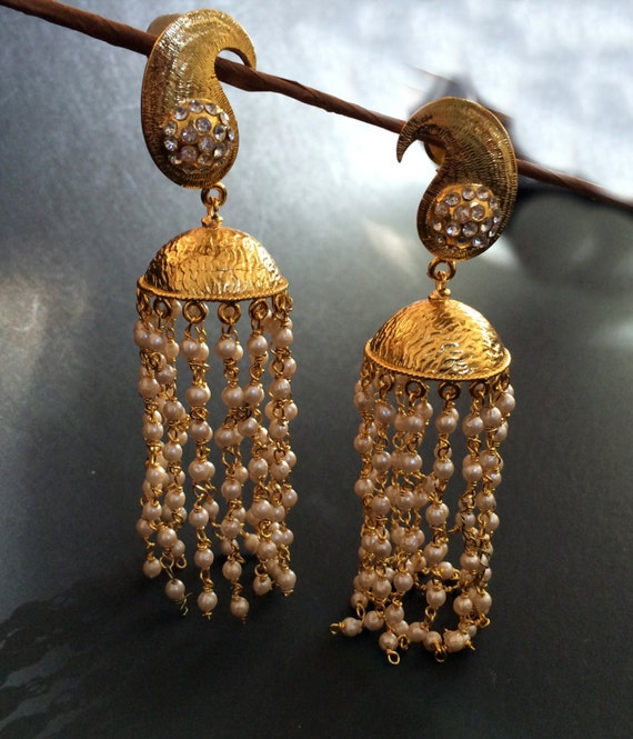 Gold JHUMKAS Brushed Gold Pearl Jhumka earringsLong