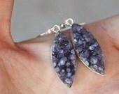 Royal Purple - Beautiful Amethyst Druzy Crystal Geode Earrings