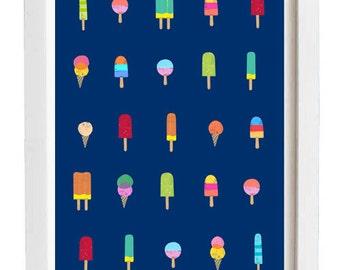 "Ice Cream Heaven - Gelato Art print 11""x15"" -  archival fine art giclée print"