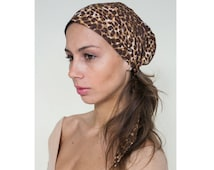 Easy Tie Pre-Tied 100% Cotton Head Scarf in Cheetah Print