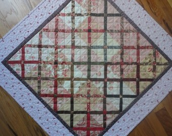 Hot Cross - Pink Calico Small Quilt