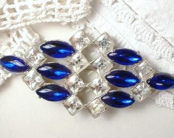 Antique Sapphire Bridal Hair Comb OR Vintage Wedding Dress Sash Brooch, Art Deco Cobalt Blue Rhinestone Hair Accessory, 1920s Hairpiece Navy