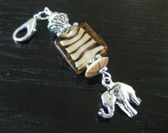 African Safari Purse Charm, Zipper Pull