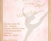 Vintage Silhouette Dancer Ballerina Birthday Party Invitation -  DIY Digital, Printable Party INVITATION - 4x6 or 5x7 - Tea Party Invitation
