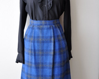 Vintage 60's Light Wool Cobalt Plaid Midi Skirt 30 Inch Waist